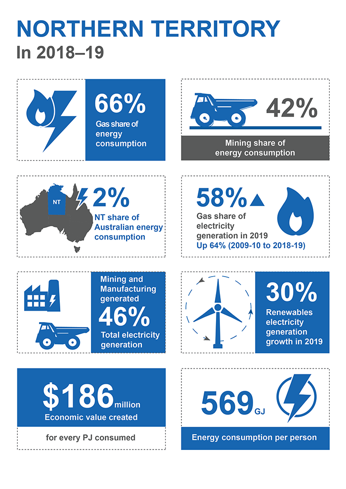 This infographic shows information for Northern Territory in 2018–19. 66% of energy consumption was from gas. Mining's share of energy consumption was 42%. Northern Territory's share of Australian energy consumption was 2%. 58% of electricity generation came from gas in 2019, up 64% between 2009-10 and 2018-19. Mining and manufacturing generated 46% of total electricity generation. Renewable electricity generation grew by 30% in 2019. Each petajoule consumed generated 186 million dollars of economic value. 569 gigajoules of energy was consumed per person.