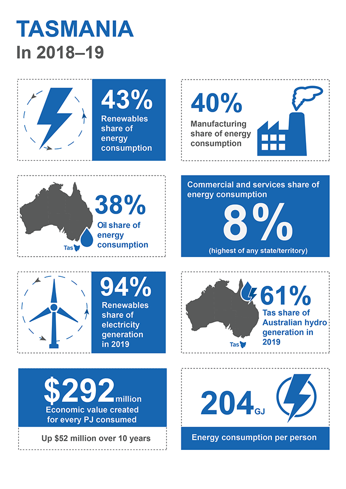 This infographic shows information for Tasmania in 2018–19. 43% of energy consumption was from renewables. Manufacturing accounted for 40% of energy consumption. Oil's share of energy consumption was 38%. 8% of energy consumption was from the commercial and services sector, which was the highest of any state or territory. 94% of electricity generation came from renewables in 2019. Tasmania's share of Australian hydro generation in 2019 was 61%. Each petajoule consumed generated 292 million dollars of economic value which is 52 million dollars more than a decade ago. 204 gigajoules of energy was consumed per person.